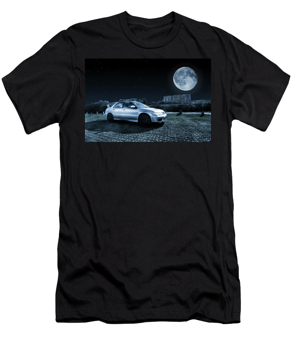 Mitsubishi Lancer Evolution 7 Men's T-Shirt (Athletic Fit) featuring the photograph Evo 7 At Night by Steve Purnell