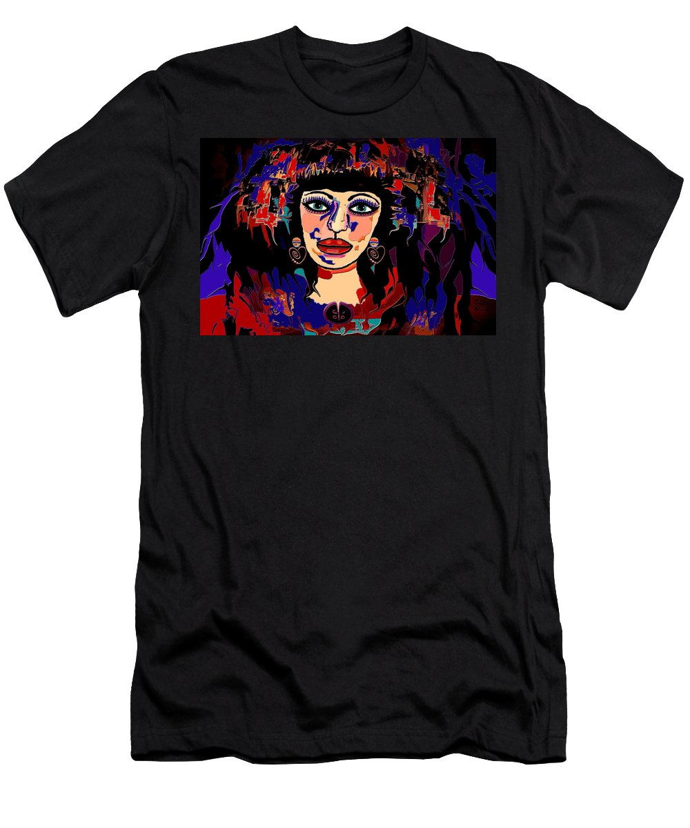 Woman Men's T-Shirt (Athletic Fit) featuring the mixed media Exotic Woman by Natalie Holland