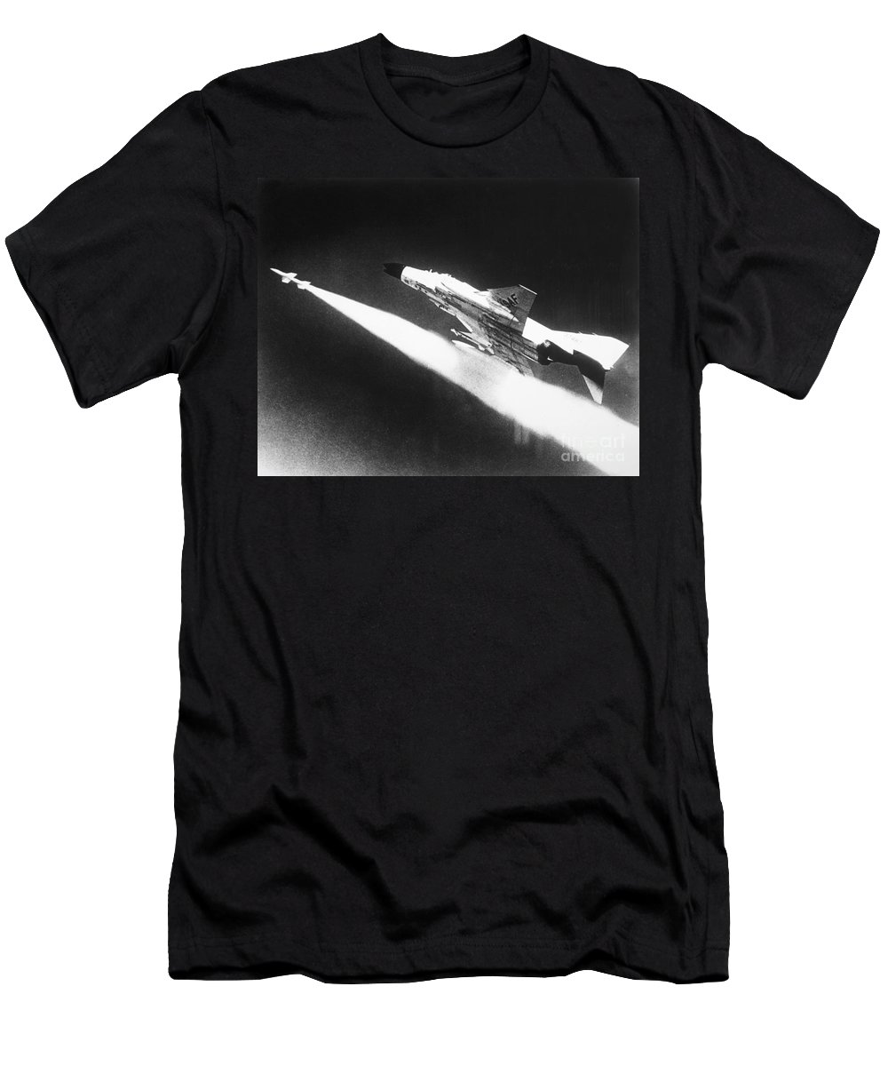 1966 Men's T-Shirt (Athletic Fit) featuring the photograph F-4 Phantom Fighter Jet by Granger