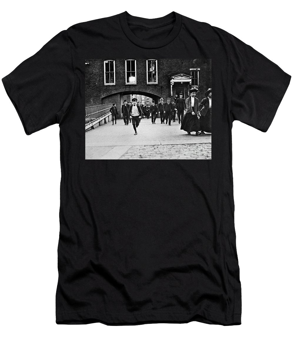 1909 Men's T-Shirt (Athletic Fit) featuring the photograph Factory Workers, 1909 by Granger
