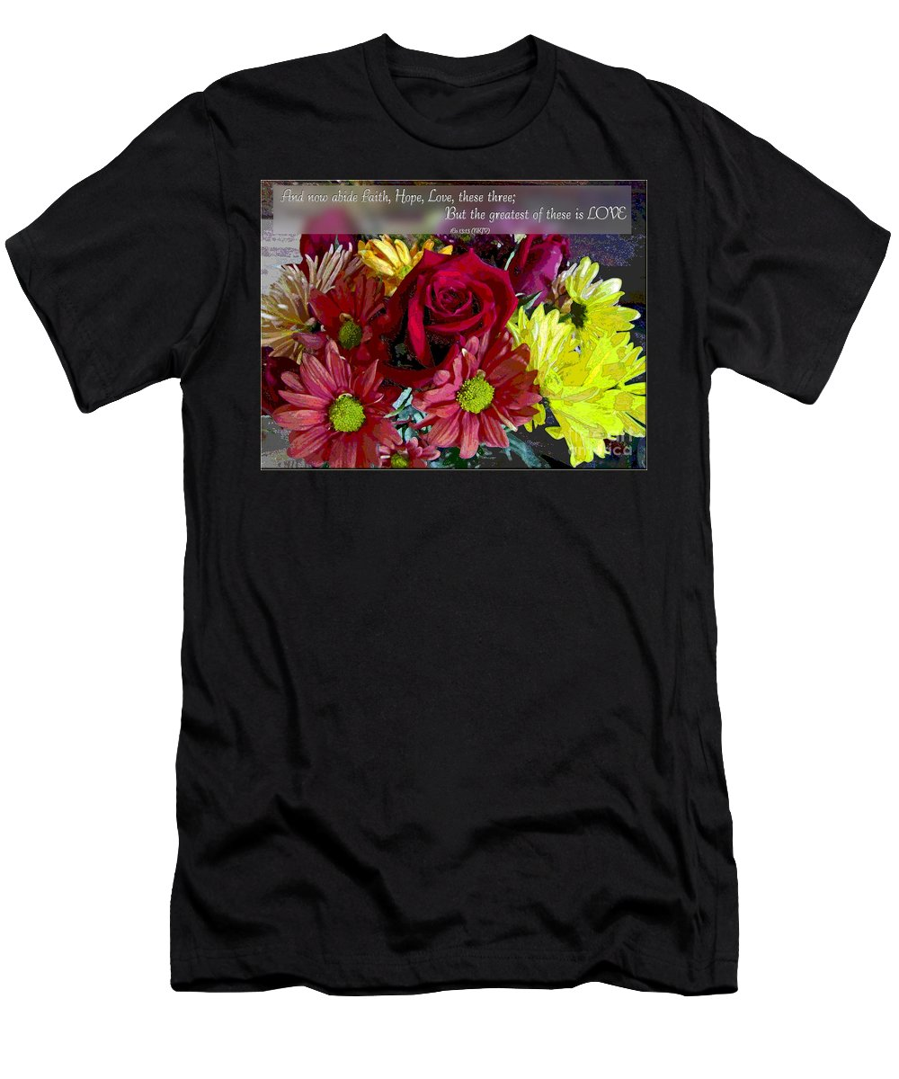Nature Men's T-Shirt (Athletic Fit) featuring the photograph Faith Hope Love II by Debbie Portwood