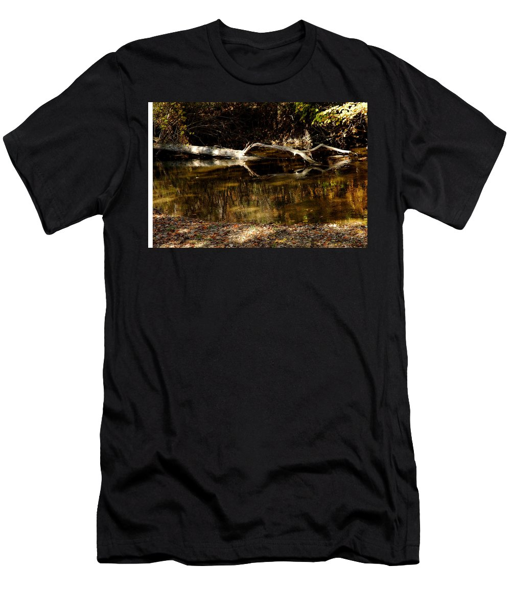 Usa Men's T-Shirt (Athletic Fit) featuring the photograph Fall Log Reflection by LeeAnn McLaneGoetz McLaneGoetzStudioLLCcom