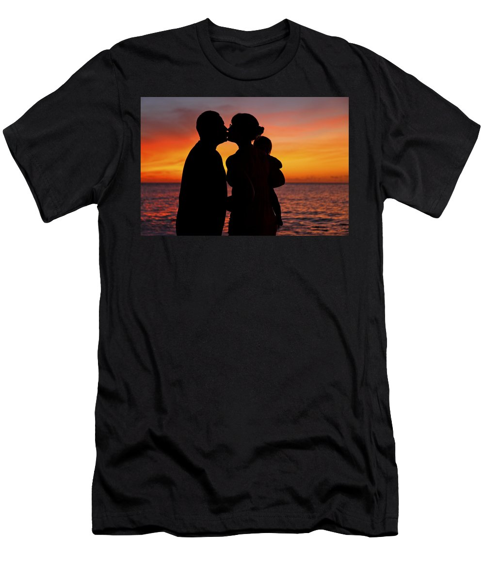 Baby Men's T-Shirt (Athletic Fit) featuring the photograph Family Silhouettes At Sunset by Vince Cavataio - Printscapes