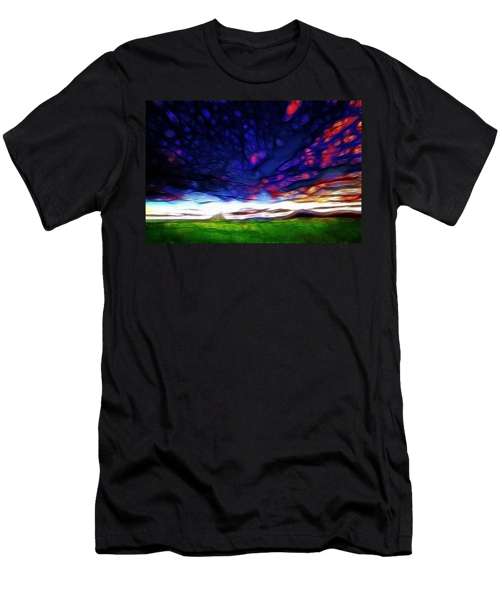 Fantasy Abstract Color Colorful Landscape Sky Grass Mountain Expressionism Impressionism Painting Acrylic Cloud Clouds Men's T-Shirt (Athletic Fit) featuring the painting Fantasy Landscape by Steve K