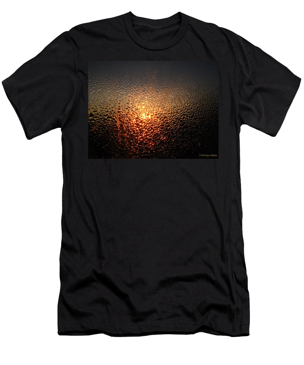 Dew Men's T-Shirt (Athletic Fit) featuring the photograph February Morning Dew Drops by Joyce Dickens
