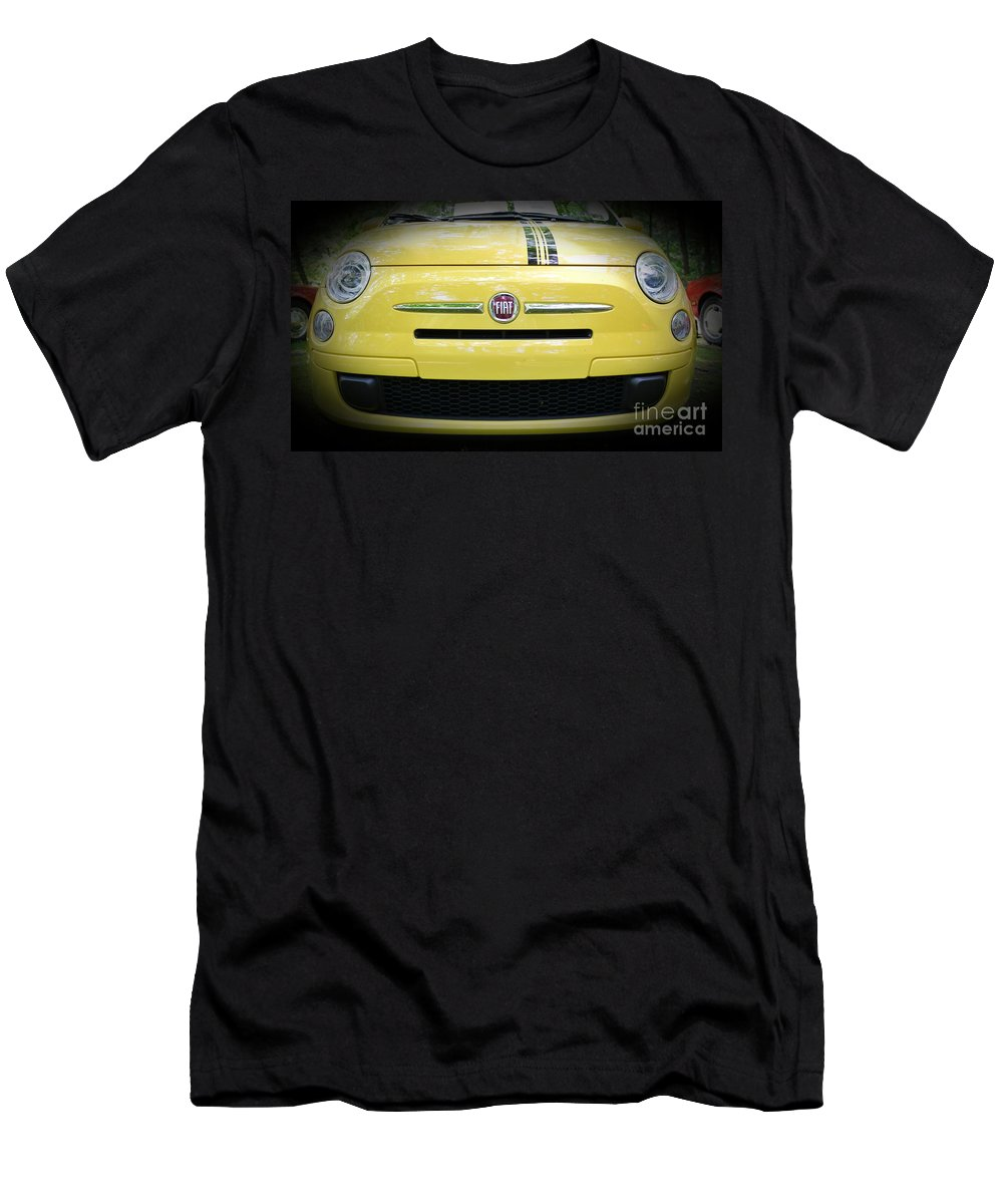 Fiat 500 Abarth Yellow With Racing Stripe Men's T-Shirt (Athletic Fit) featuring the photograph Fiat 500 Yellow With Racing Stripe by Paul Ward