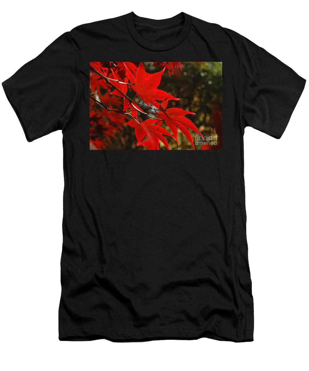 Leaves Men's T-Shirt (Athletic Fit) featuring the photograph Finer Points Of Red by Trish Hale