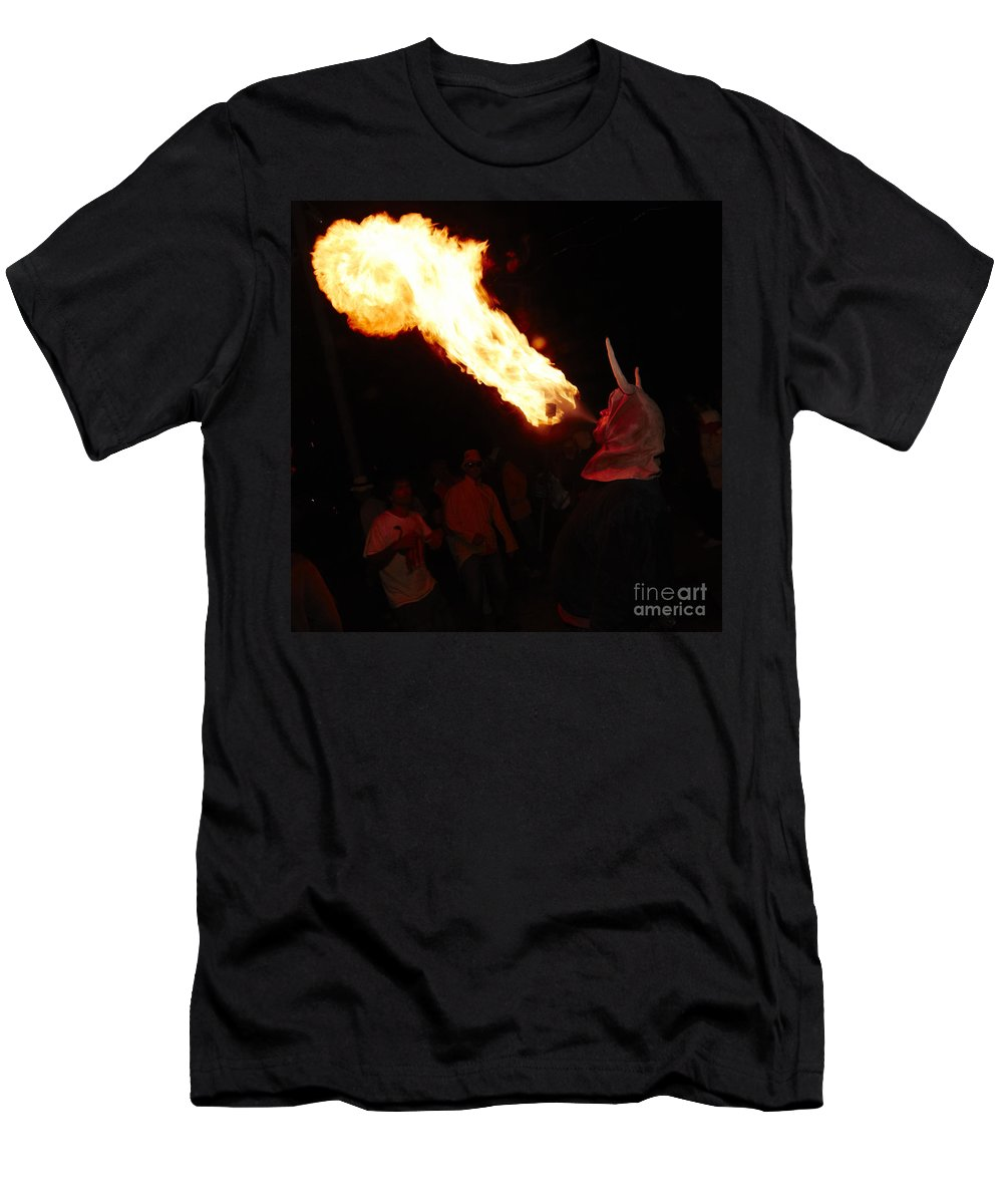 Fuego Men's T-Shirt (Athletic Fit) featuring the photograph Fire Axe 2 by Agusti Pardo Rossello