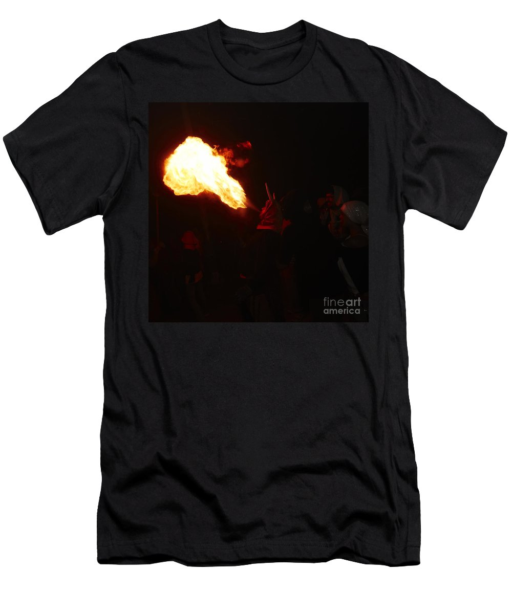 Fuego Men's T-Shirt (Athletic Fit) featuring the photograph Fire Blower by Agusti Pardo Rossello