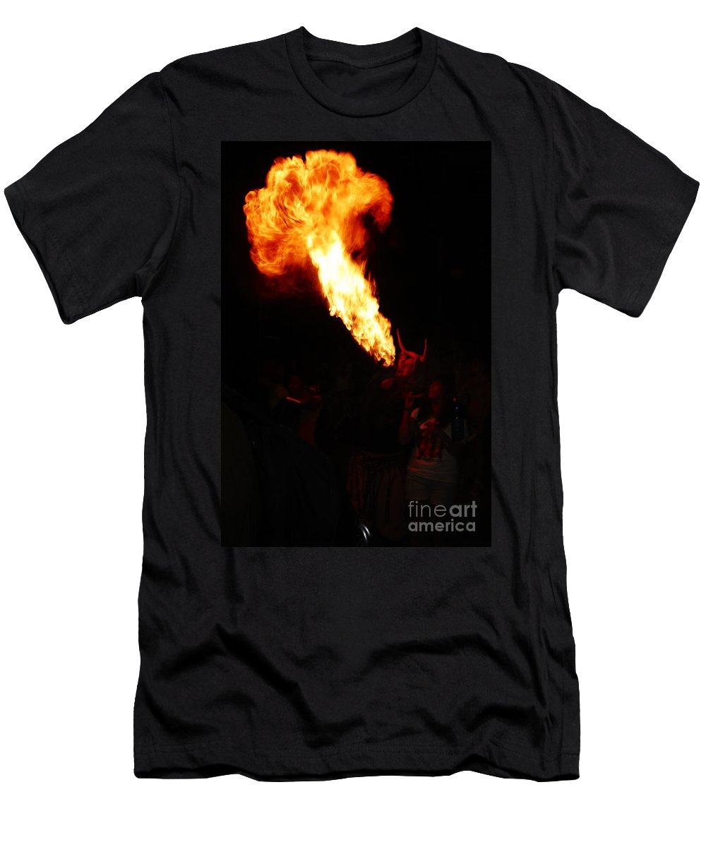 Fuego Men's T-Shirt (Athletic Fit) featuring the photograph Fire Flower by Agusti Pardo Rossello