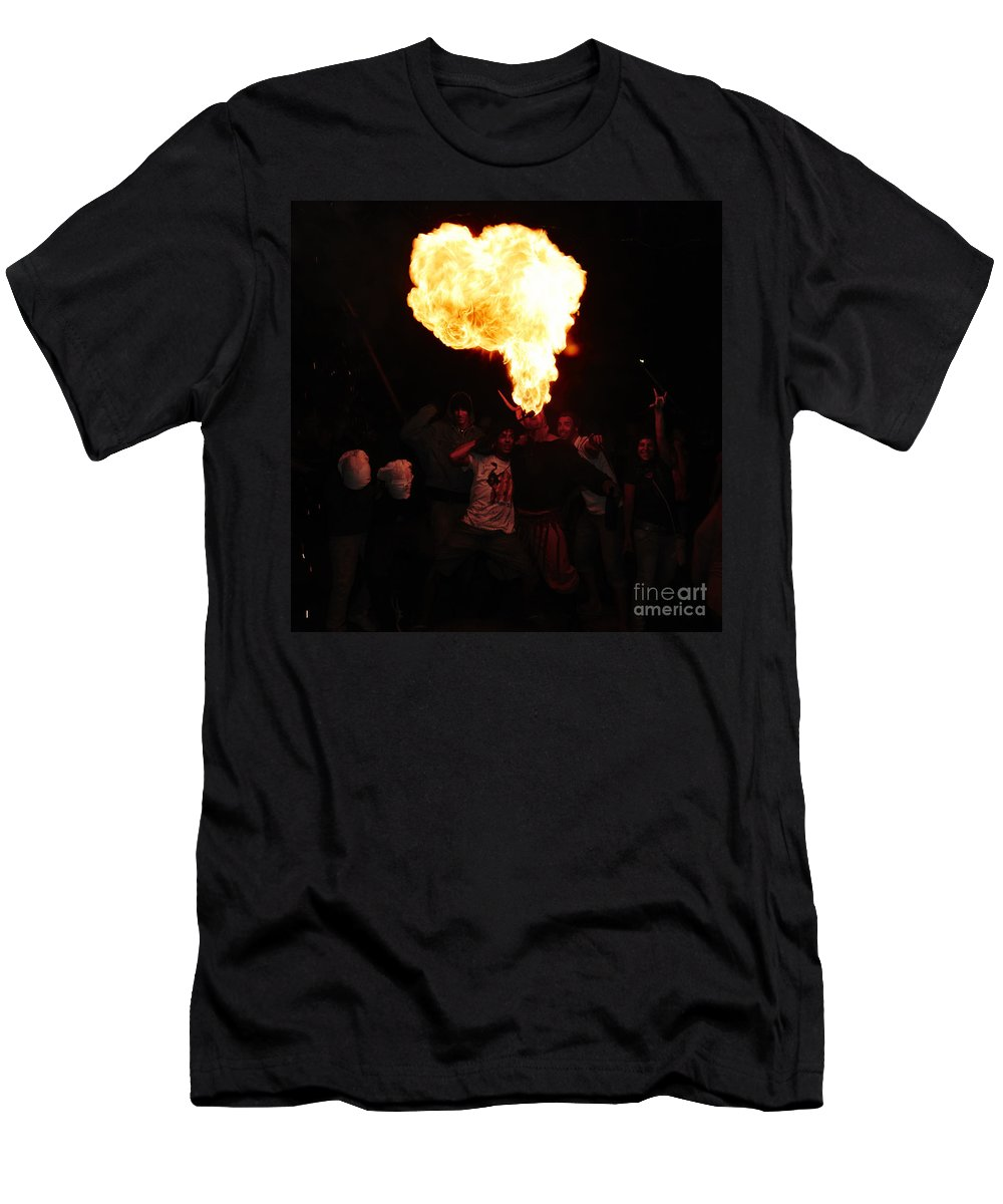 Fuego Men's T-Shirt (Athletic Fit) featuring the photograph Fire Fungus by Agusti Pardo Rossello