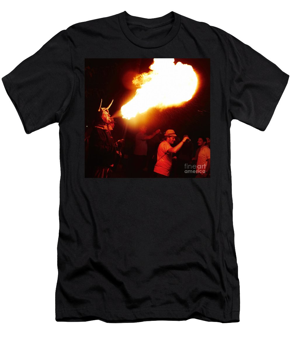 Fuego Men's T-Shirt (Athletic Fit) featuring the photograph Fire Stroke by Agusti Pardo Rossello