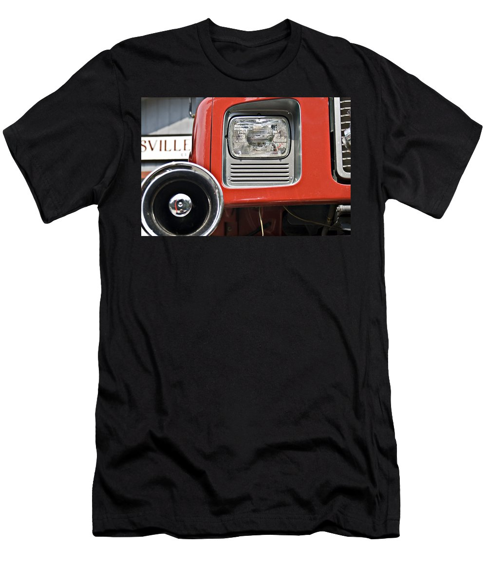 Alarm Men's T-Shirt (Athletic Fit) featuring the photograph Firetruck Light And Horn by Susan Leggett