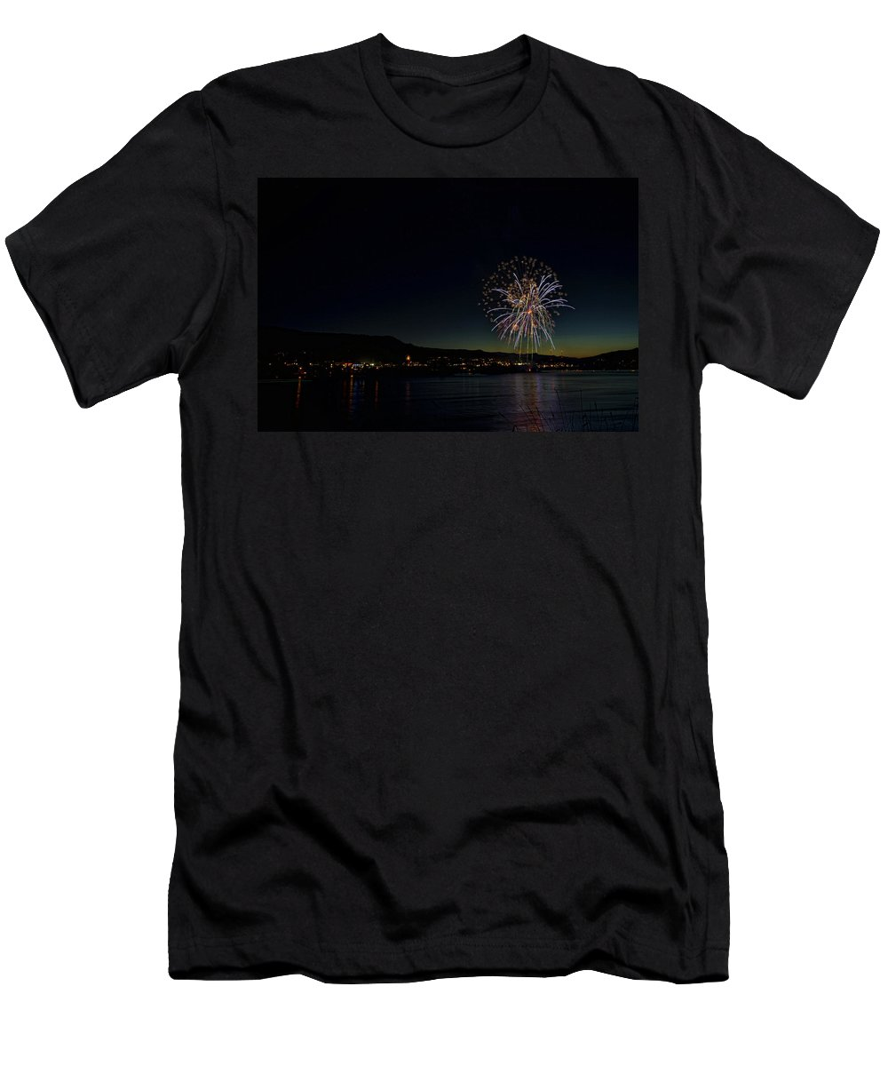 Hdr Men's T-Shirt (Athletic Fit) featuring the photograph Fireworks On The River by Brad Granger