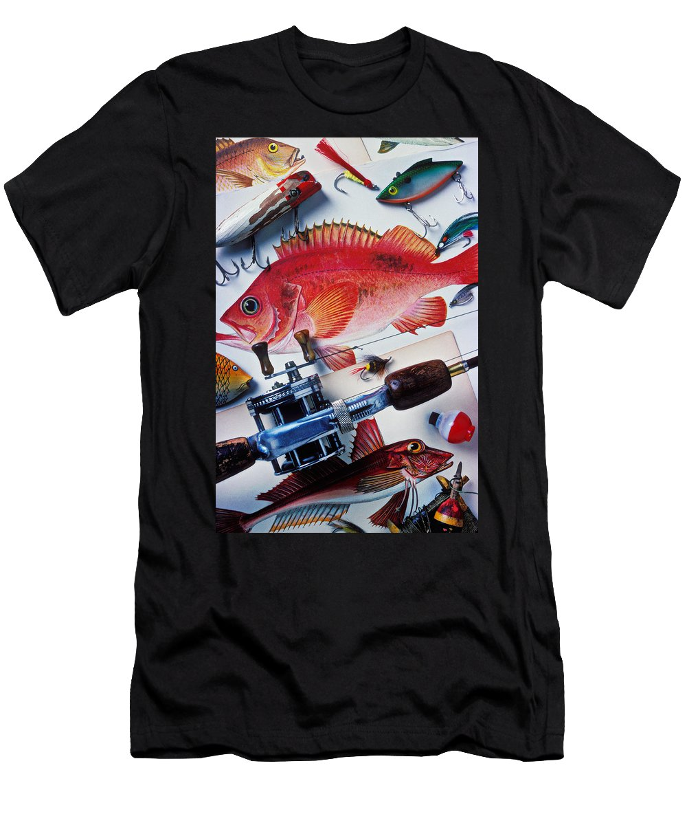 Fishing Lures Bobbers Color Colour Plastic Replica Interest Pass Men's T-Shirt (Athletic Fit) featuring the photograph Fish Bookplates And Tackle by Garry Gay