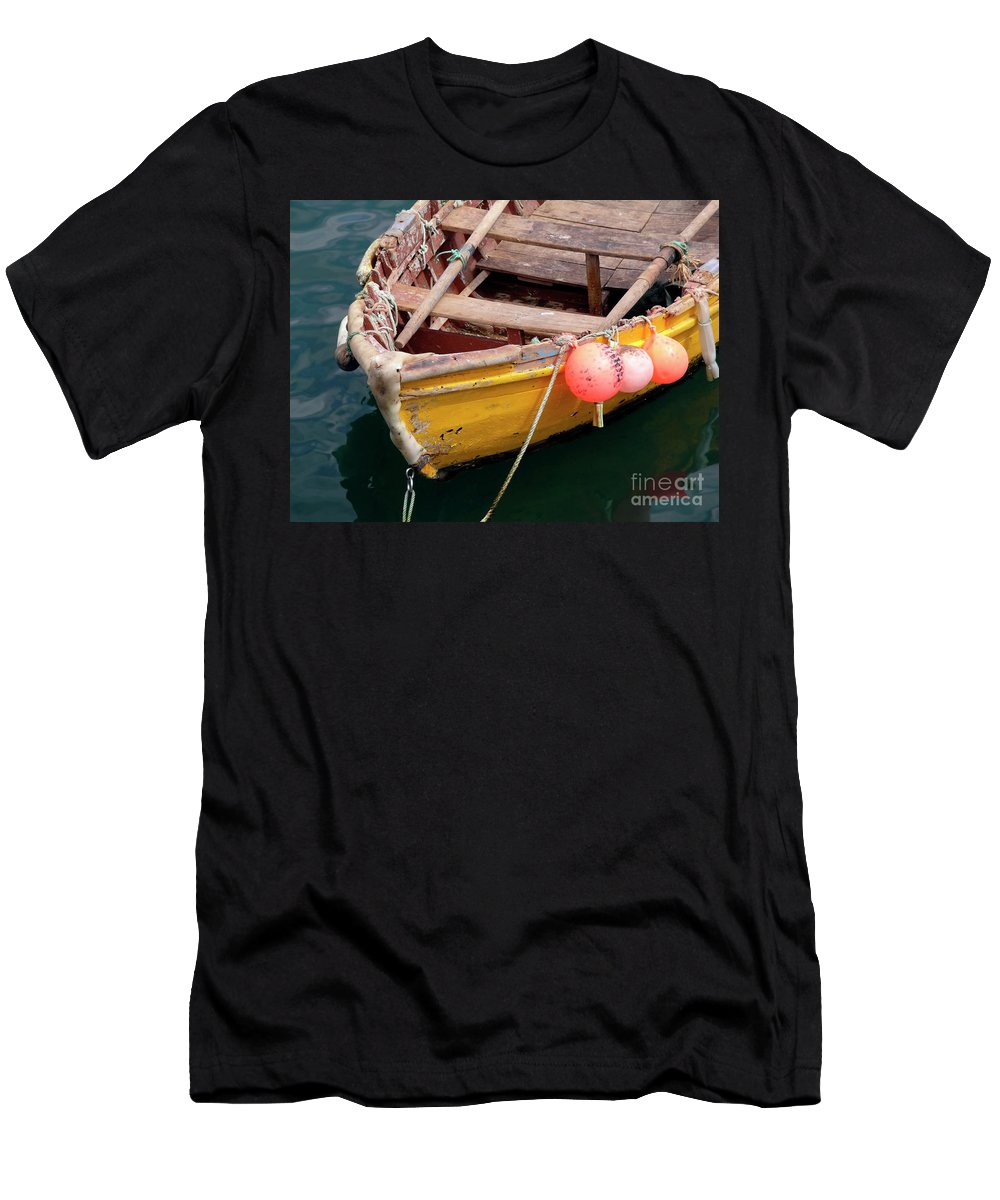 Sea Men's T-Shirt (Athletic Fit) featuring the photograph Fishing Boat by Carlos Caetano