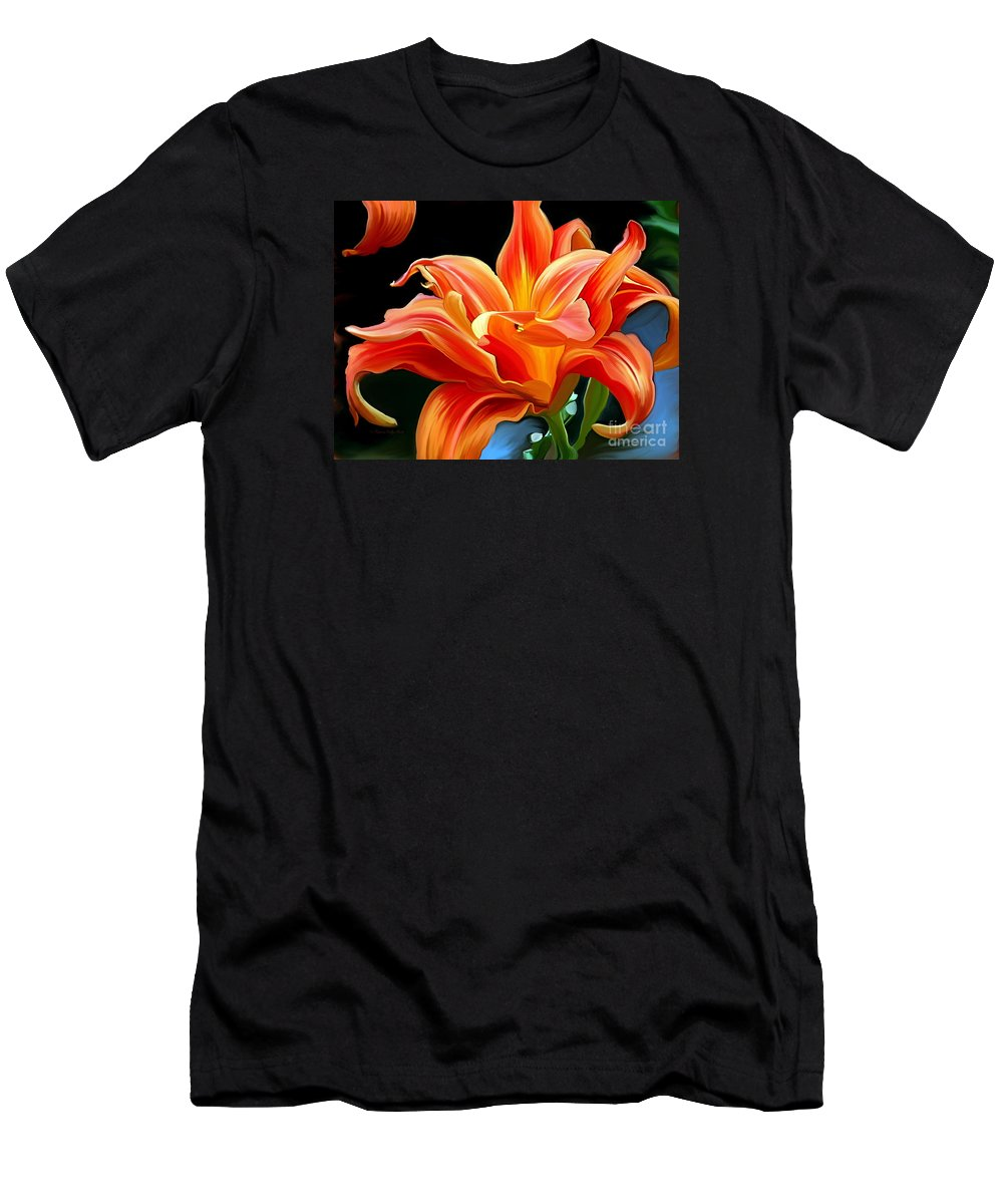 Flower Painting Men's T-Shirt (Athletic Fit) featuring the painting Flaming Flower by Patricia Griffin Brett