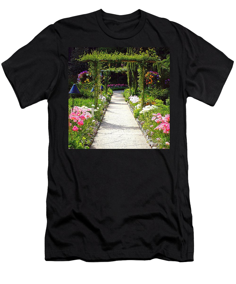 Garden Men's T-Shirt (Athletic Fit) featuring the photograph Flower Garden - Digital Painting by Carol Groenen