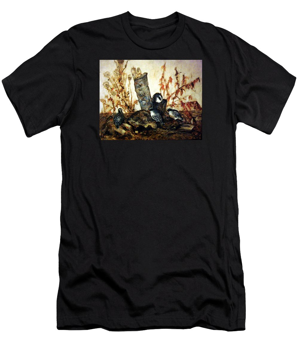 Little Birds Men's T-Shirt (Athletic Fit) featuring the painting Flying Friends by Janet Lavida