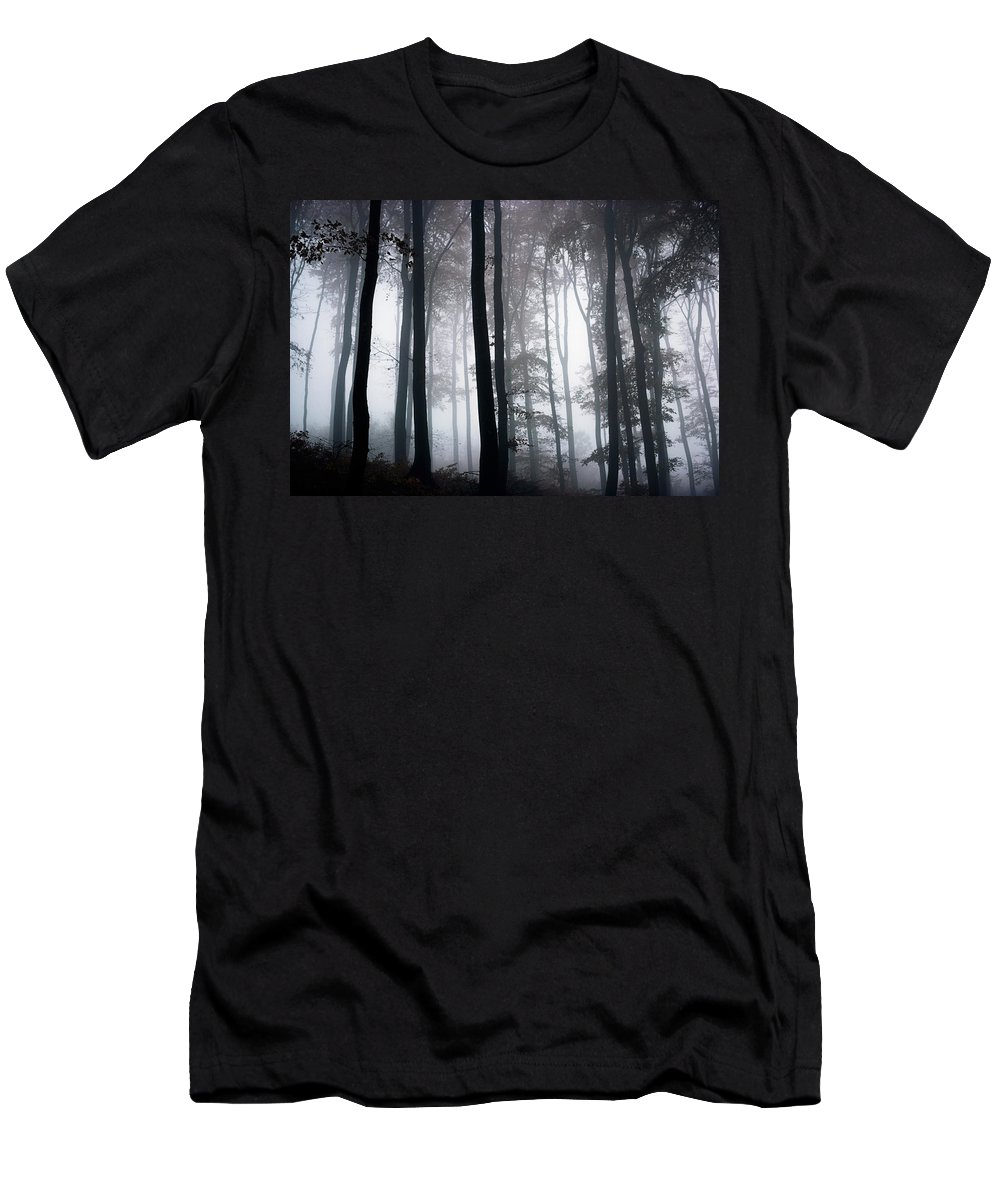 Country Men's T-Shirt (Athletic Fit) featuring the photograph Foggy Woods Ireland by The Irish Image Collection
