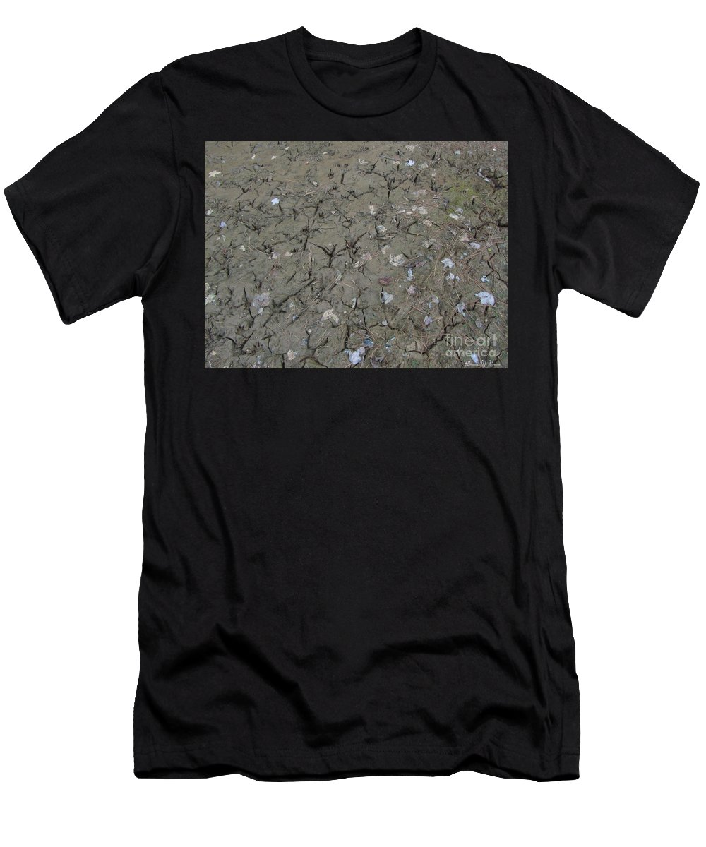 Mud Men's T-Shirt (Athletic Fit) featuring the photograph Foot Prints In The Mud by Donna Brown