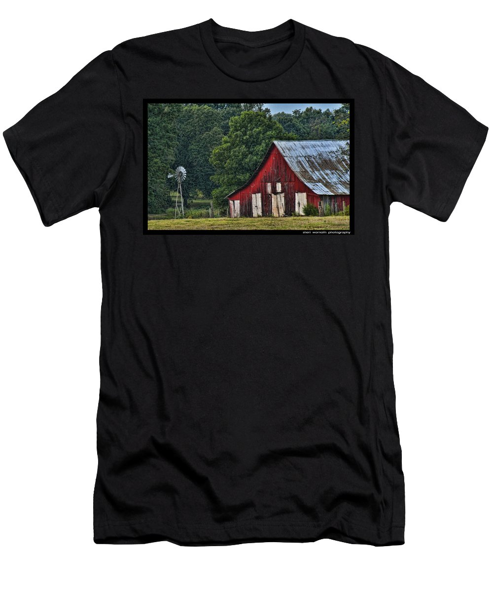 Red Barn Men's T-Shirt (Athletic Fit) featuring the photograph For My Mom by Sheri Bartoszek