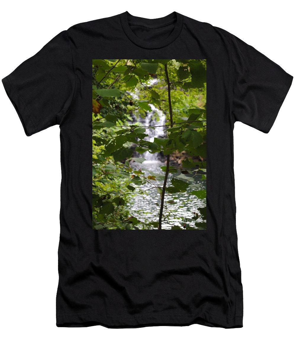 Waterfall Men's T-Shirt (Athletic Fit) featuring the photograph Forest Waterfall by Jost Houk