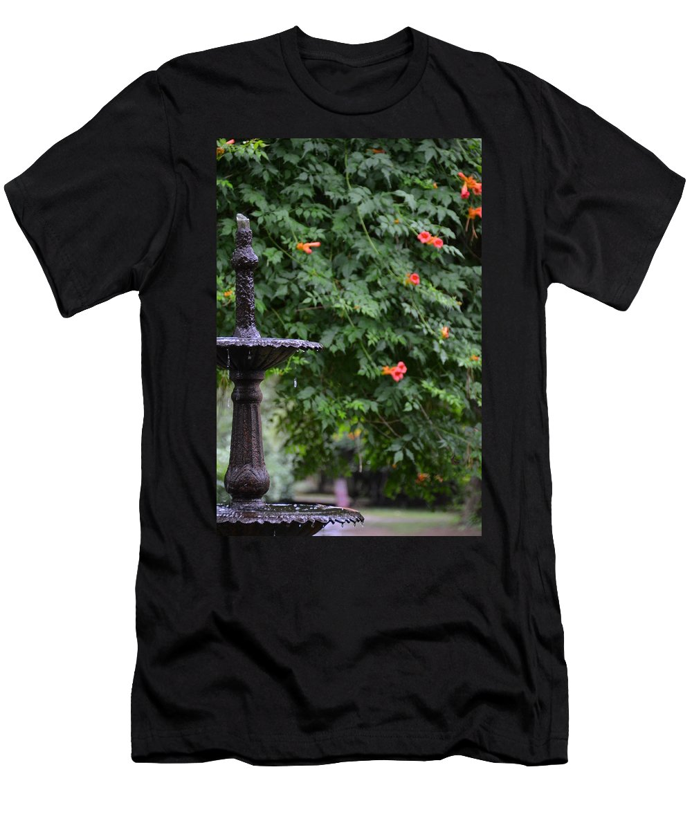 Garden Men's T-Shirt (Athletic Fit) featuring the photograph Fountain In The Garden by Bonnie Myszka