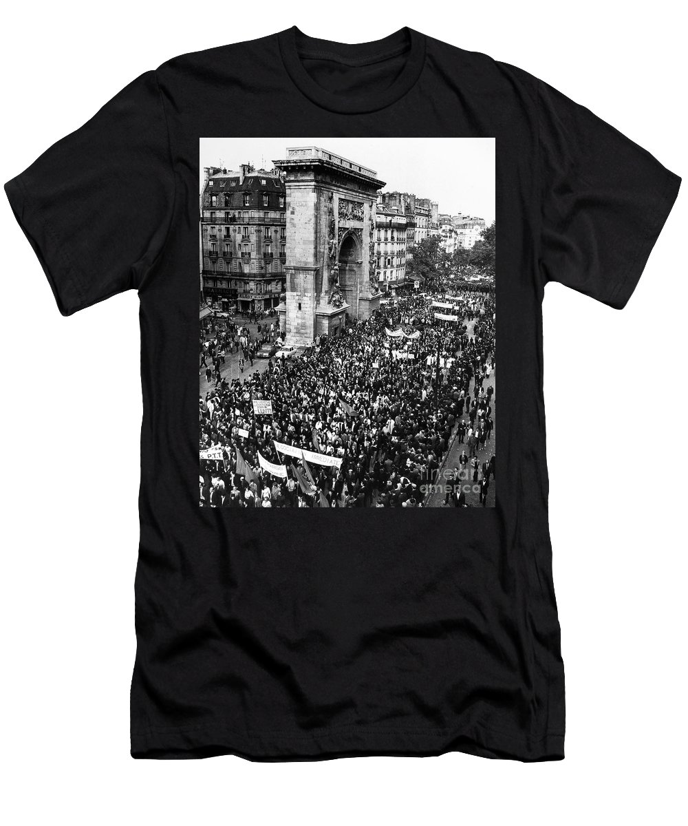 1968 Men's T-Shirt (Athletic Fit) featuring the photograph France: Strike, 1968 by Granger