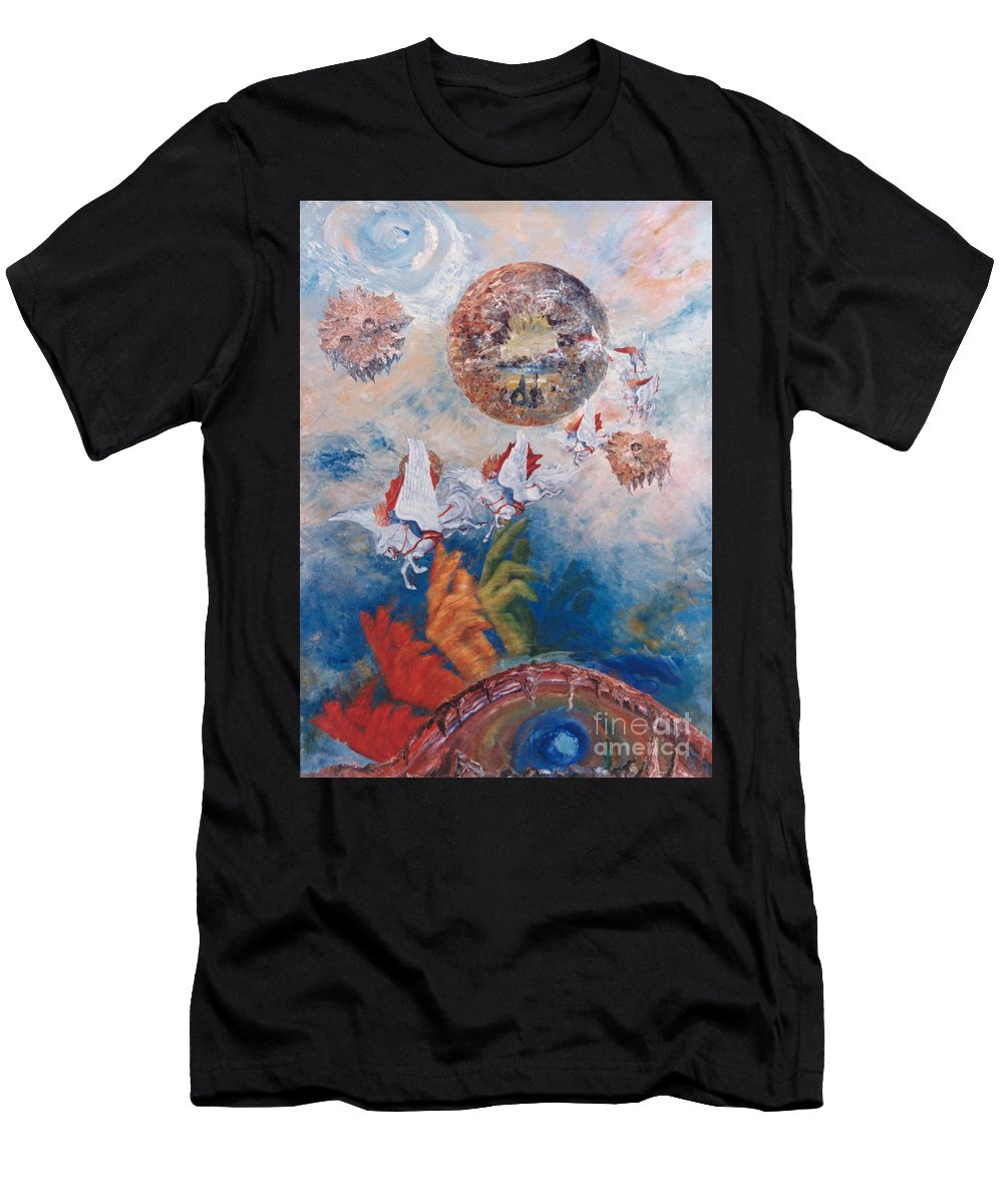 Freedom Men's T-Shirt (Athletic Fit) featuring the painting Freedom - The Beginning Of All Being by Eva-Maria Di Bella