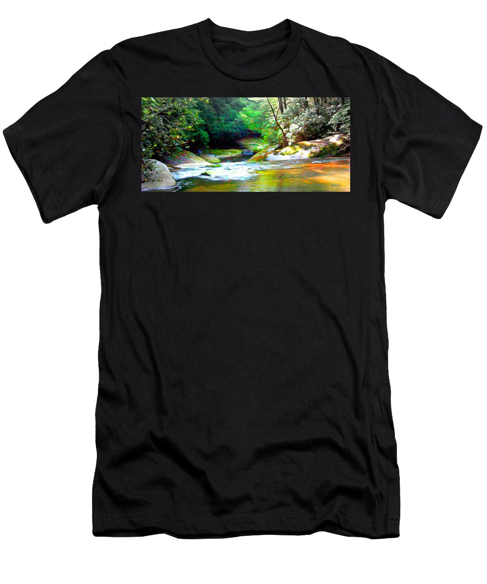 Rivers Men's T-Shirt (Athletic Fit) featuring the photograph French Broad River Filtered by Duane McCullough