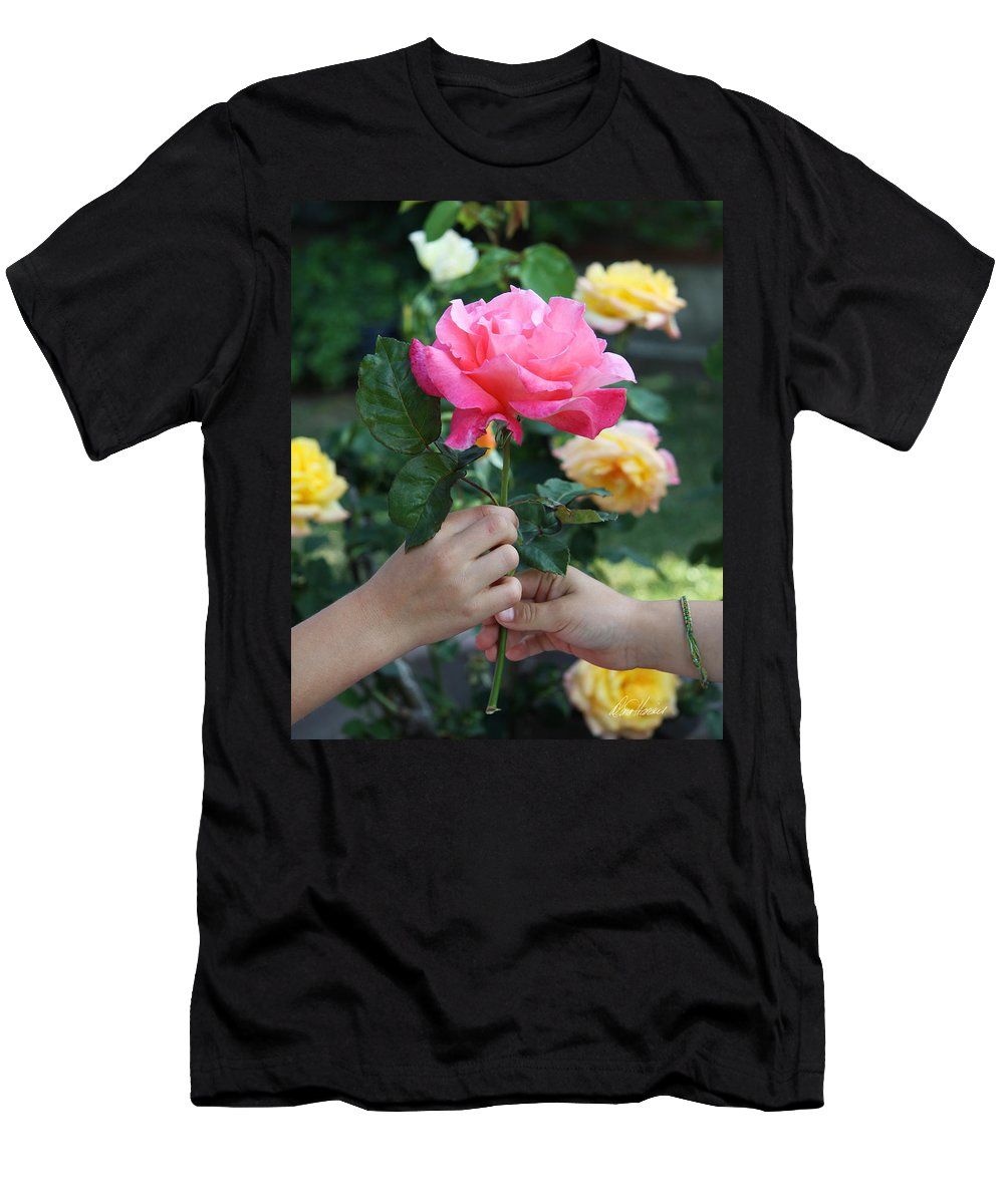 Child Men's T-Shirt (Athletic Fit) featuring the photograph Friendship Rose by Diana Haronis