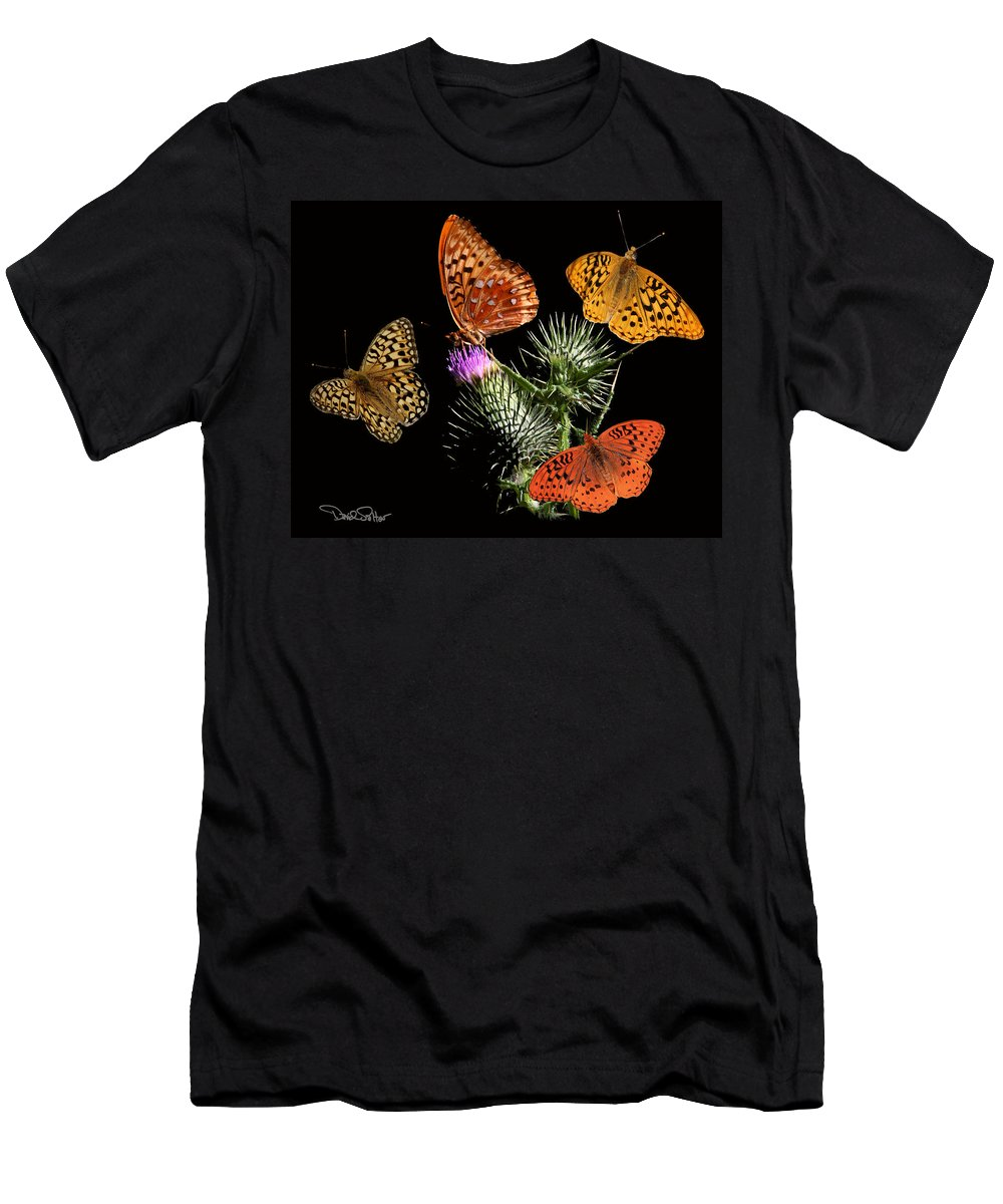Nature Men's T-Shirt (Athletic Fit) featuring the digital art Four Fritillaries by David Salter
