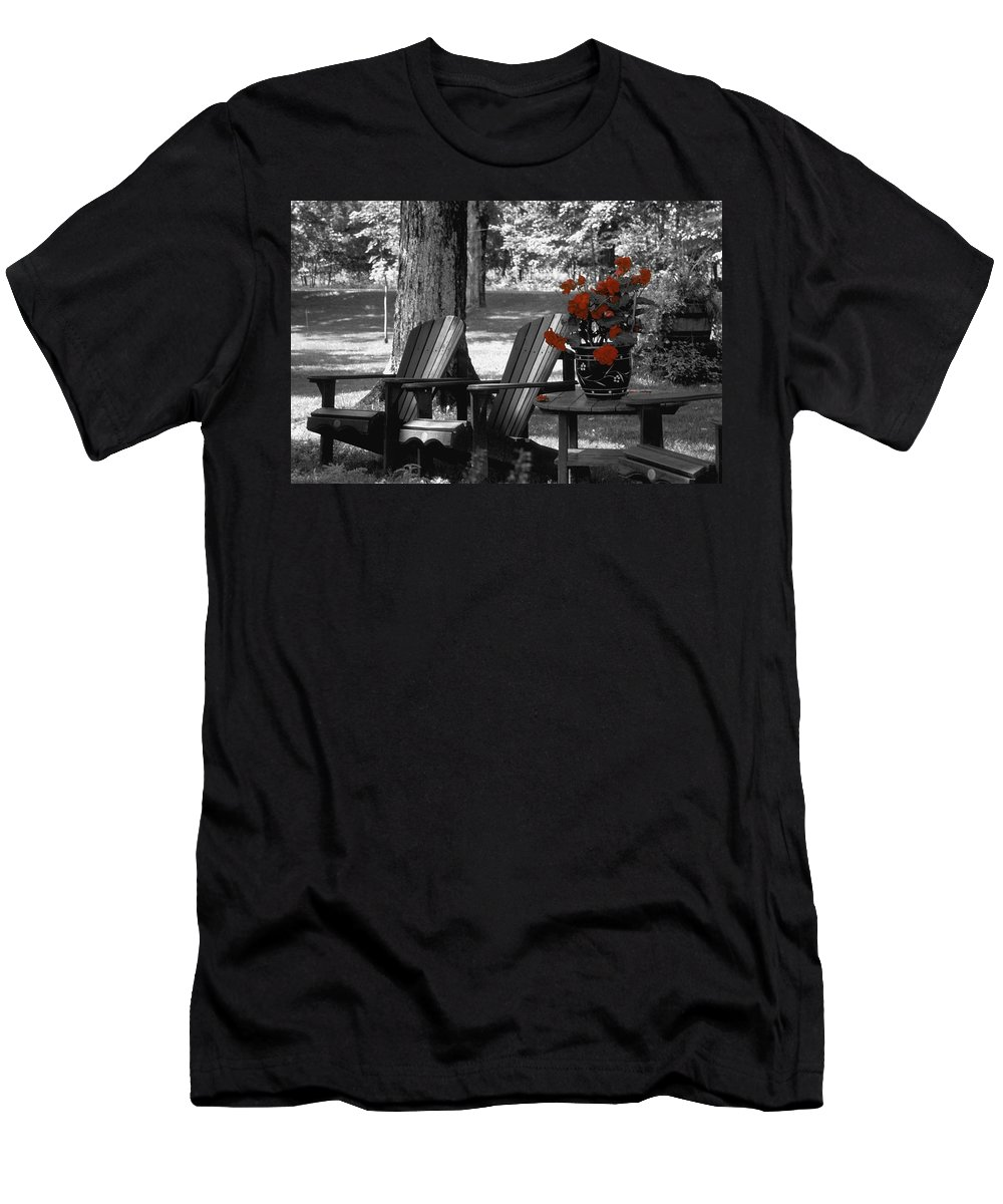 Canada Men's T-Shirt (Athletic Fit) featuring the photograph Garden Chairs With Red Flowers In A Pot by David Chapman