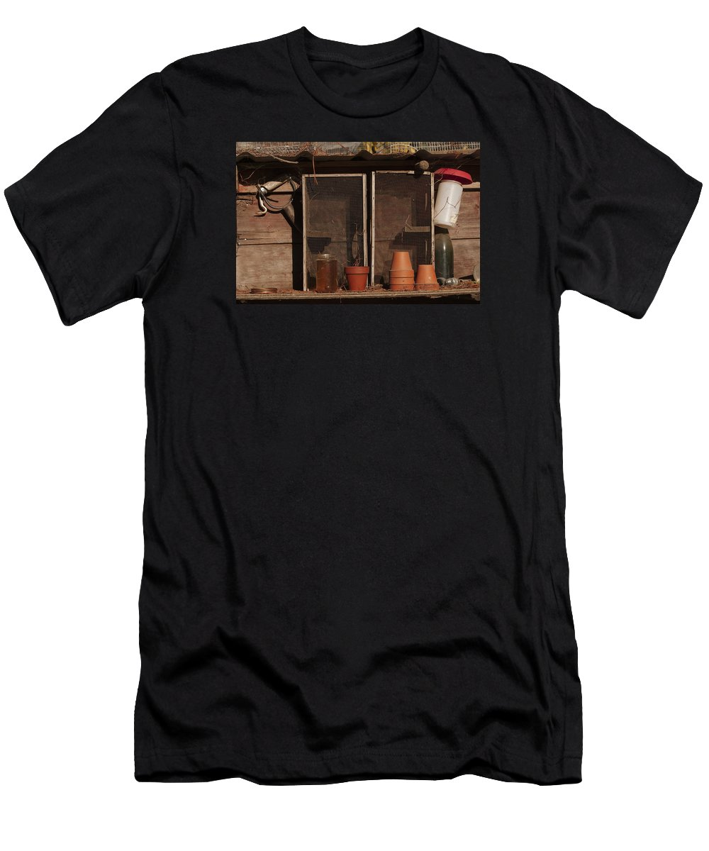 Rustic Men's T-Shirt (Athletic Fit) featuring the photograph Garden Shelf by Grant Groberg