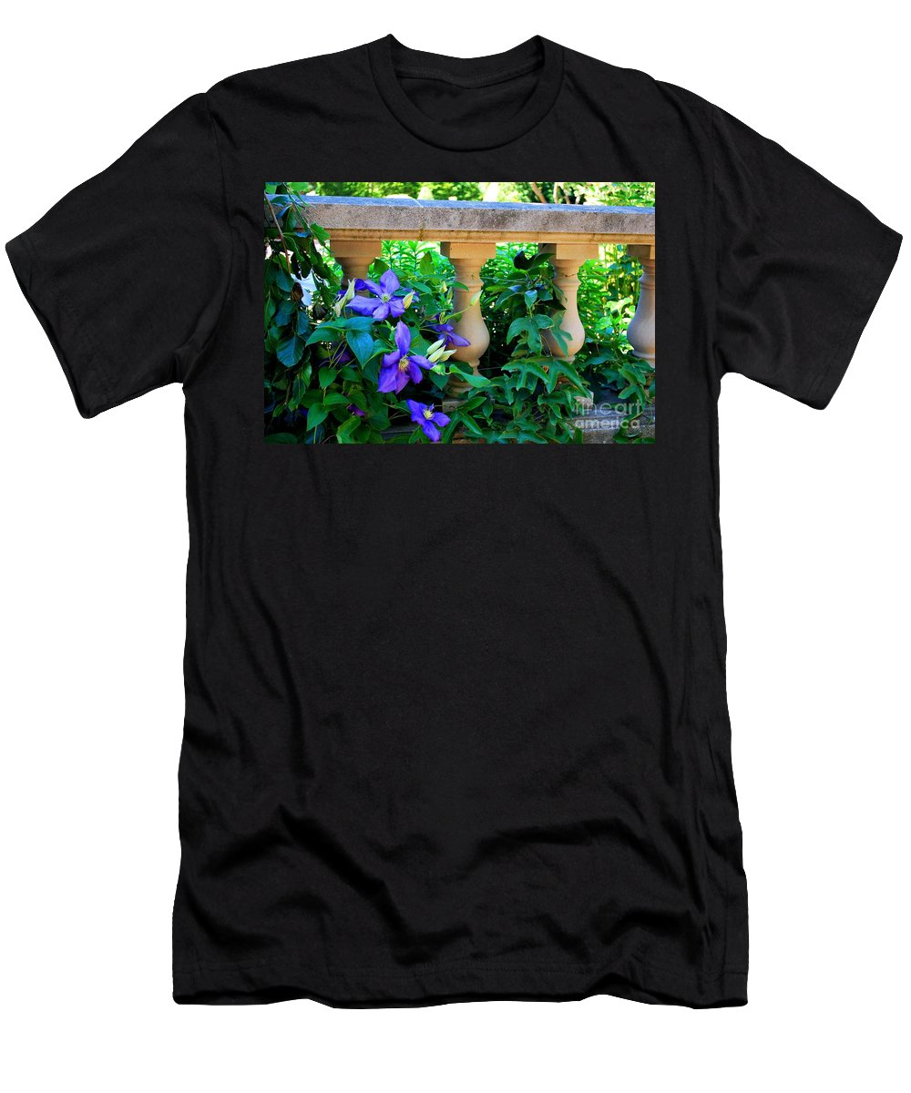 Sculpture Men's T-Shirt (Athletic Fit) featuring the photograph Garden Wall With Periwinkle Flowers by Nancy Mueller