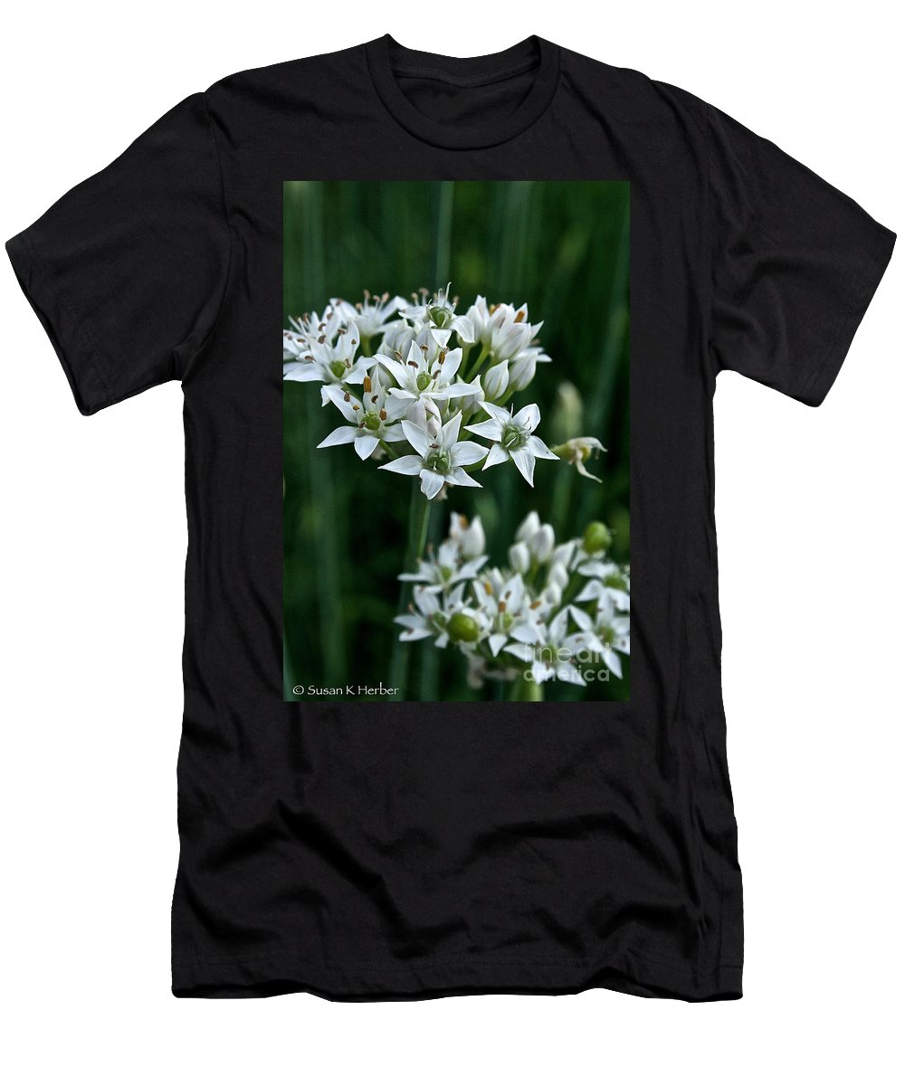 Plant Men's T-Shirt (Athletic Fit) featuring the photograph Garlic Chive Blooms by Susan Herber