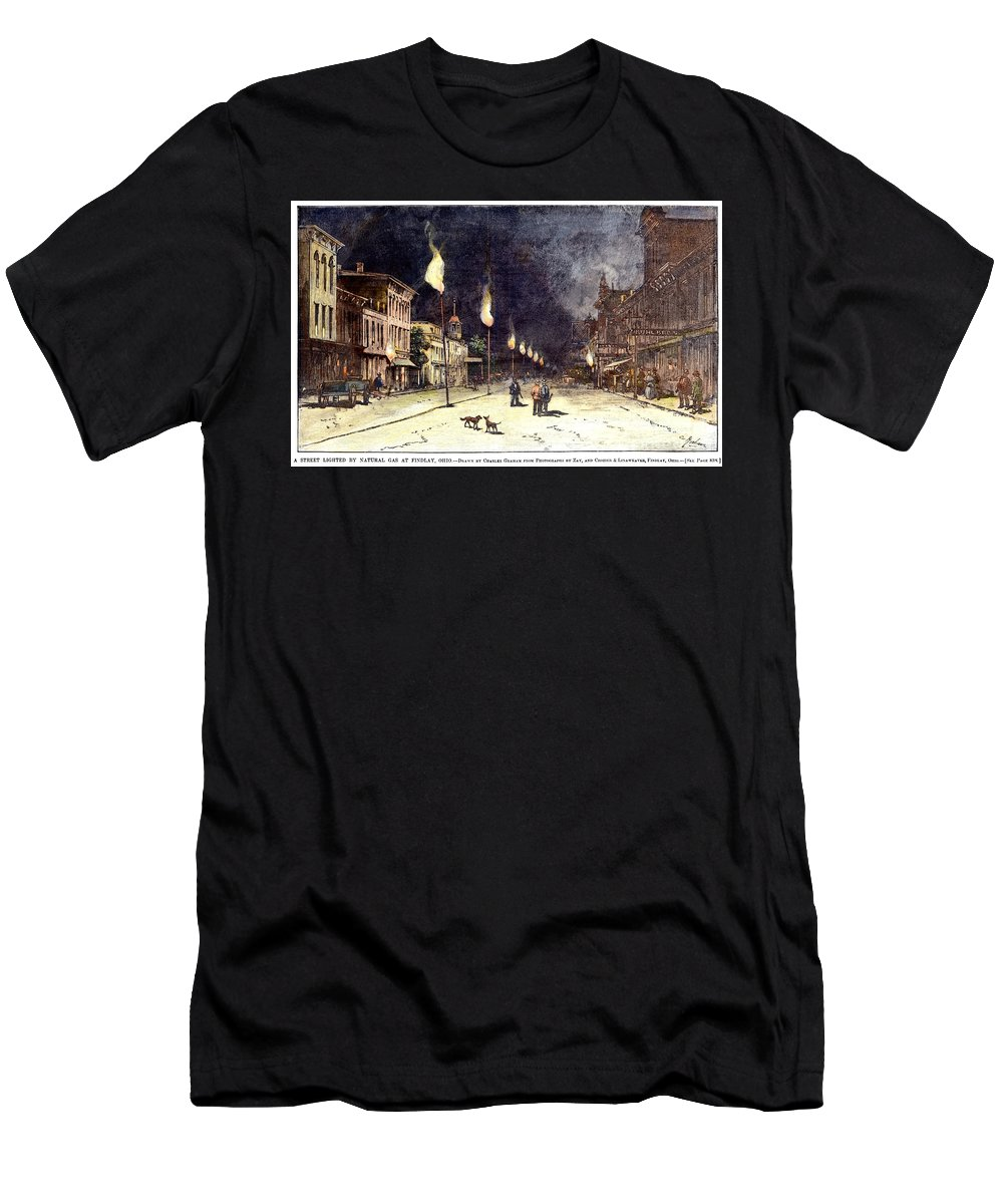 1885 Men's T-Shirt (Athletic Fit) featuring the photograph Gas Lights, 1885 by Granger