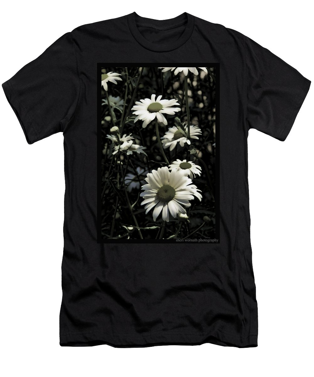 Ghostly Men's T-Shirt (Athletic Fit) featuring the photograph Ghostly Daisies by Sheri Bartoszek