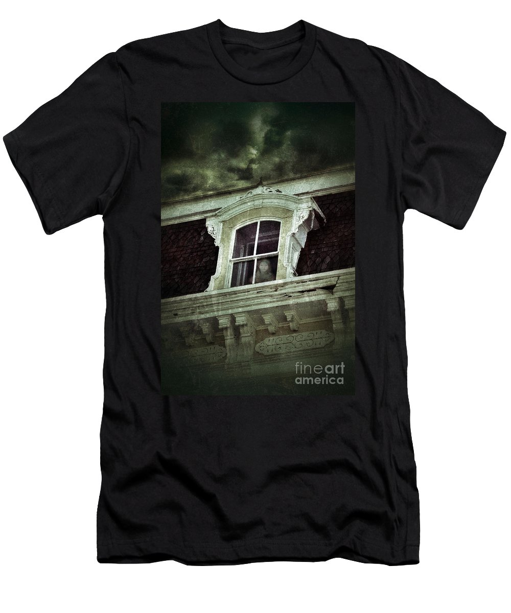 House Men's T-Shirt (Athletic Fit) featuring the photograph Ghostly Girl In Upstairs Window by Jill Battaglia