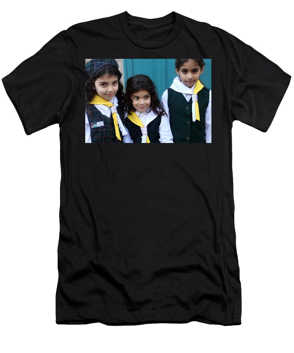 Three Men's T-Shirt (Athletic Fit) featuring the photograph Girl Scouts At Orthodox Christmas Celebration by Munir Alawi