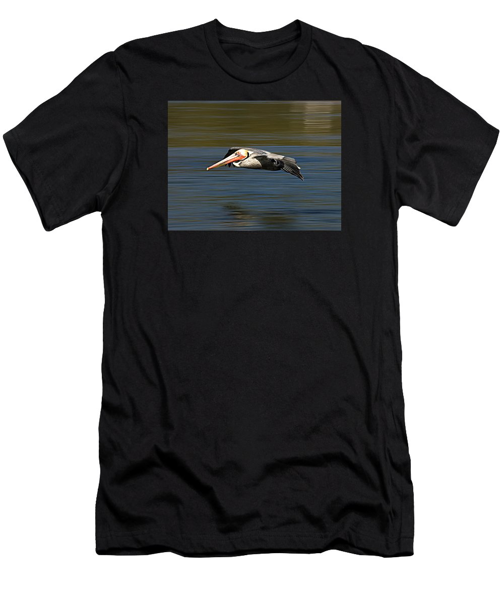 Pelicans Men's T-Shirt (Athletic Fit) featuring the photograph Glidepath by Joe Schofield