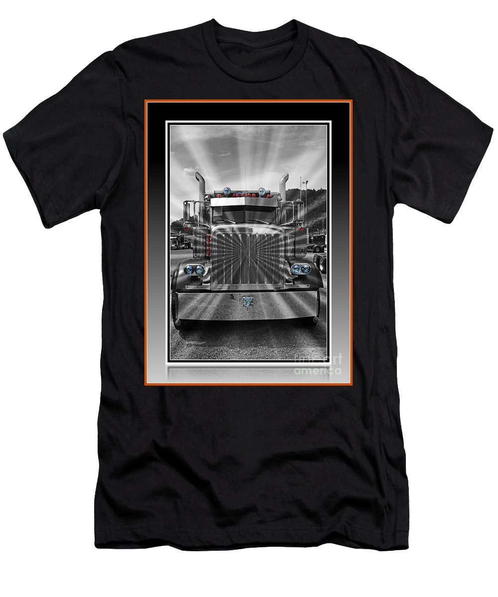 Trucks Men's T-Shirt (Athletic Fit) featuring the photograph Glowing Pete Abstract by Randy Harris