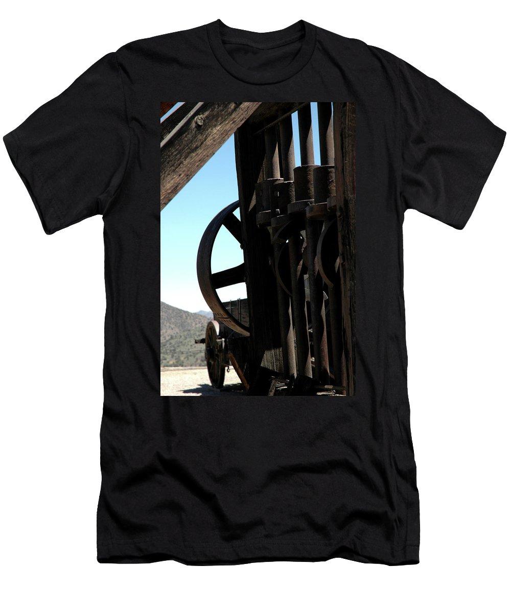 Usa Men's T-Shirt (Athletic Fit) featuring the photograph Gold Mining Stone Crusher by LeeAnn McLaneGoetz McLaneGoetzStudioLLCcom