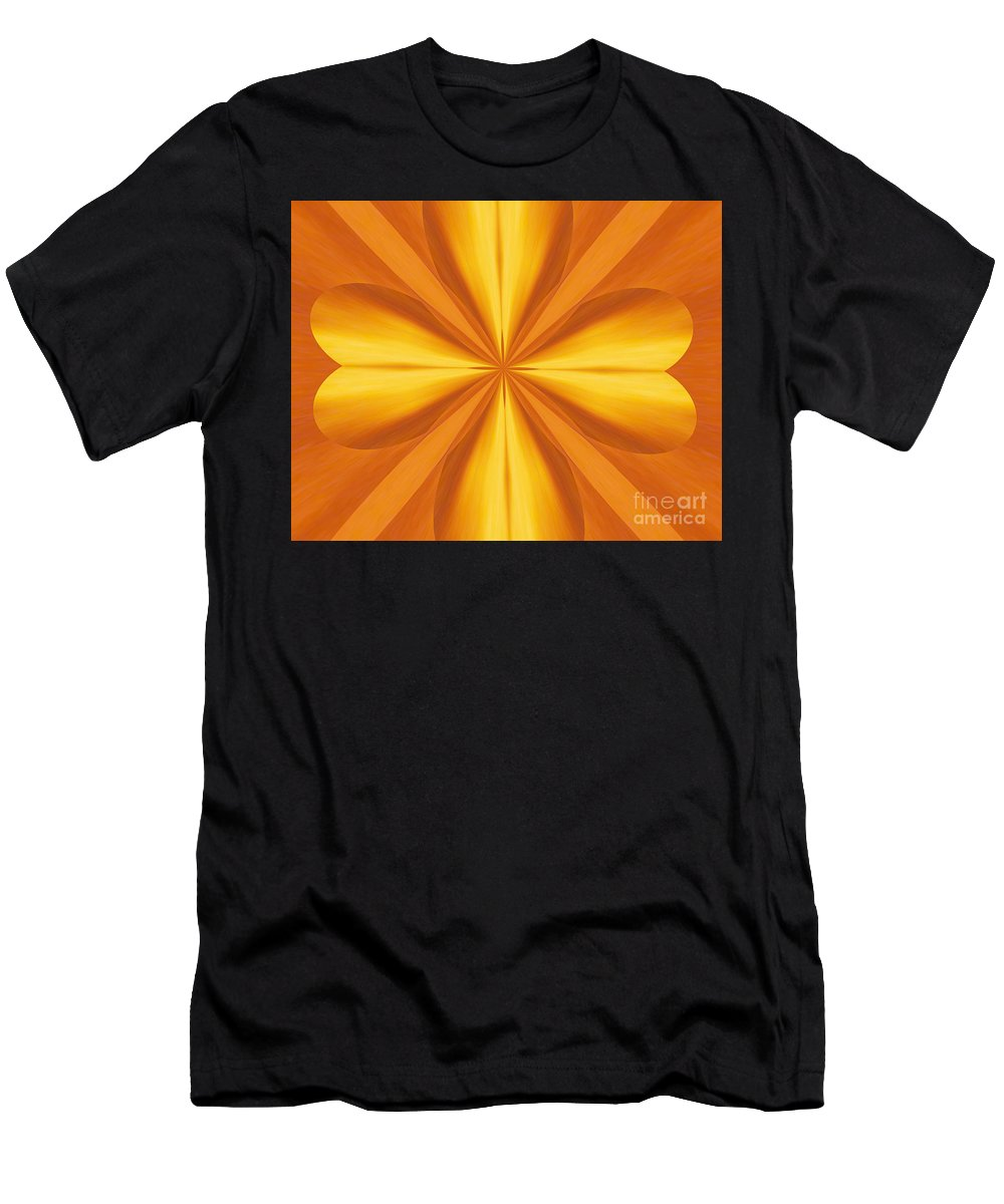 Kaleidoscopic Men's T-Shirt (Athletic Fit) featuring the photograph Golden 4 Leaf Clover by Donna Brown