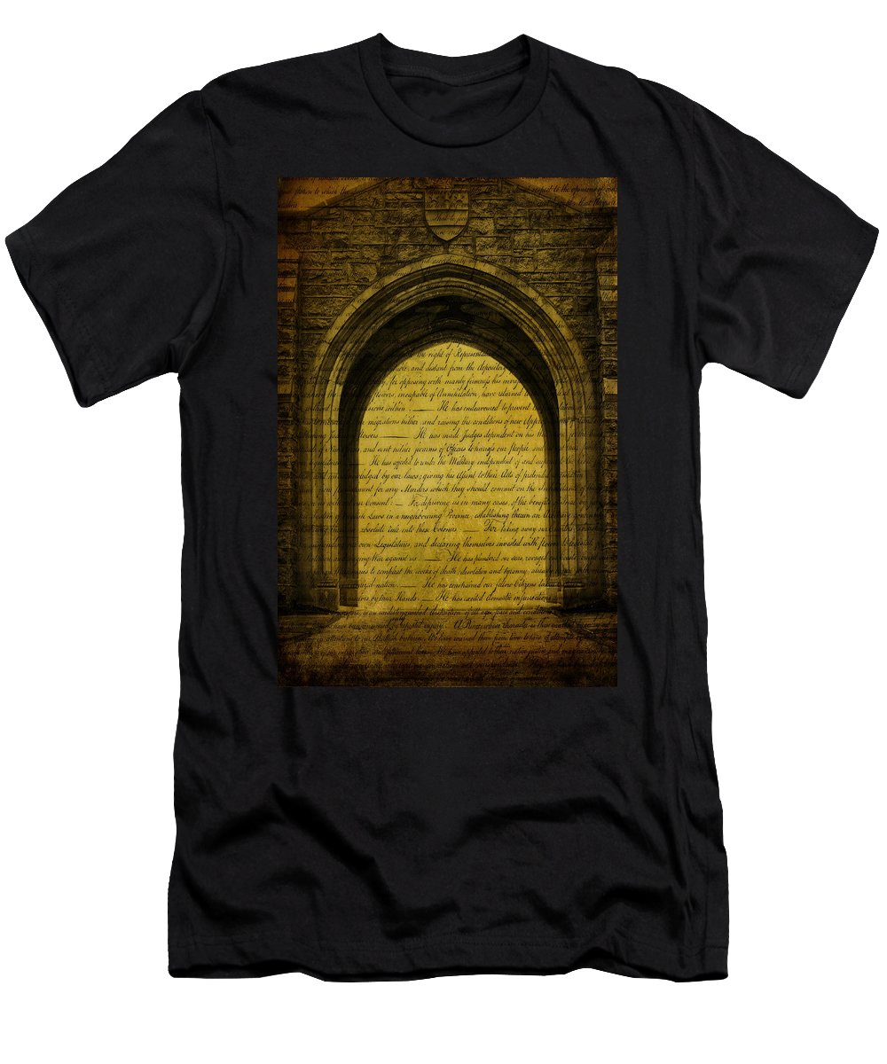 Golden Men's T-Shirt (Athletic Fit) featuring the photograph Golden Arch by Trish Tritz