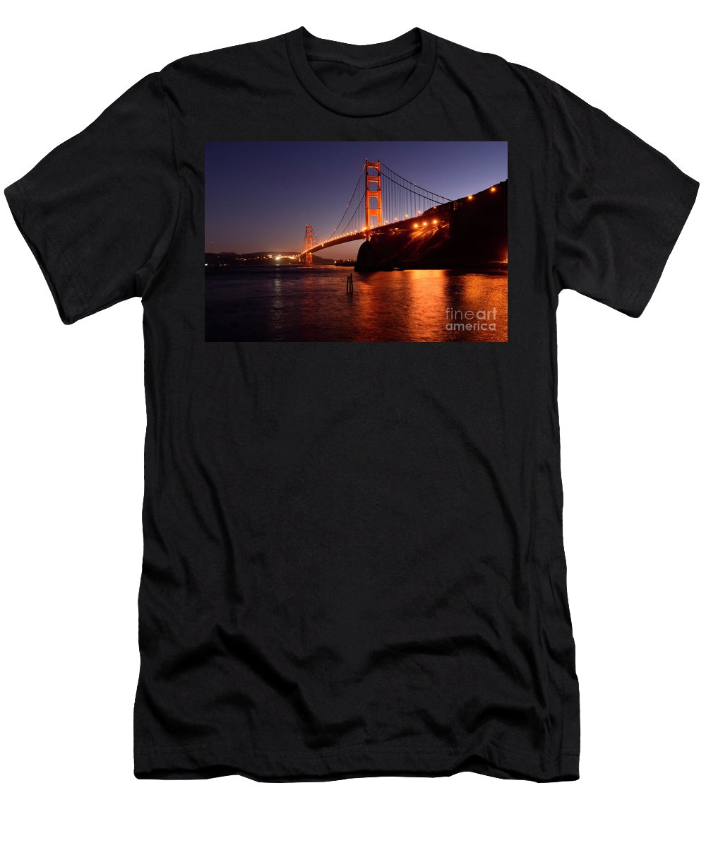 San Francisco Men's T-Shirt (Athletic Fit) featuring the photograph Golden Gate Bridge At Night 2 by Bob Christopher