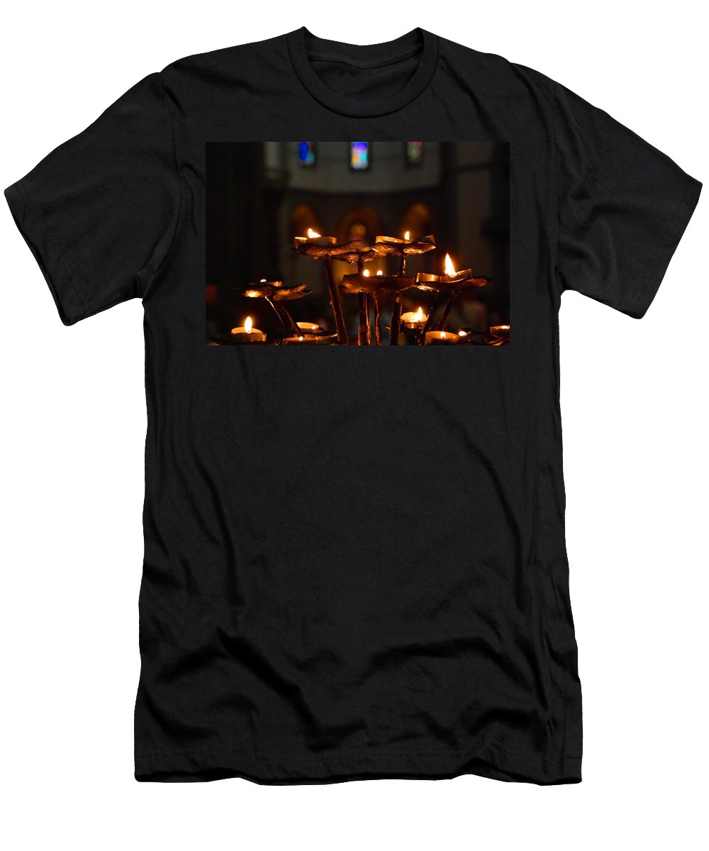 Candles Men's T-Shirt (Athletic Fit) featuring the photograph Golden Lights by Dany Lison