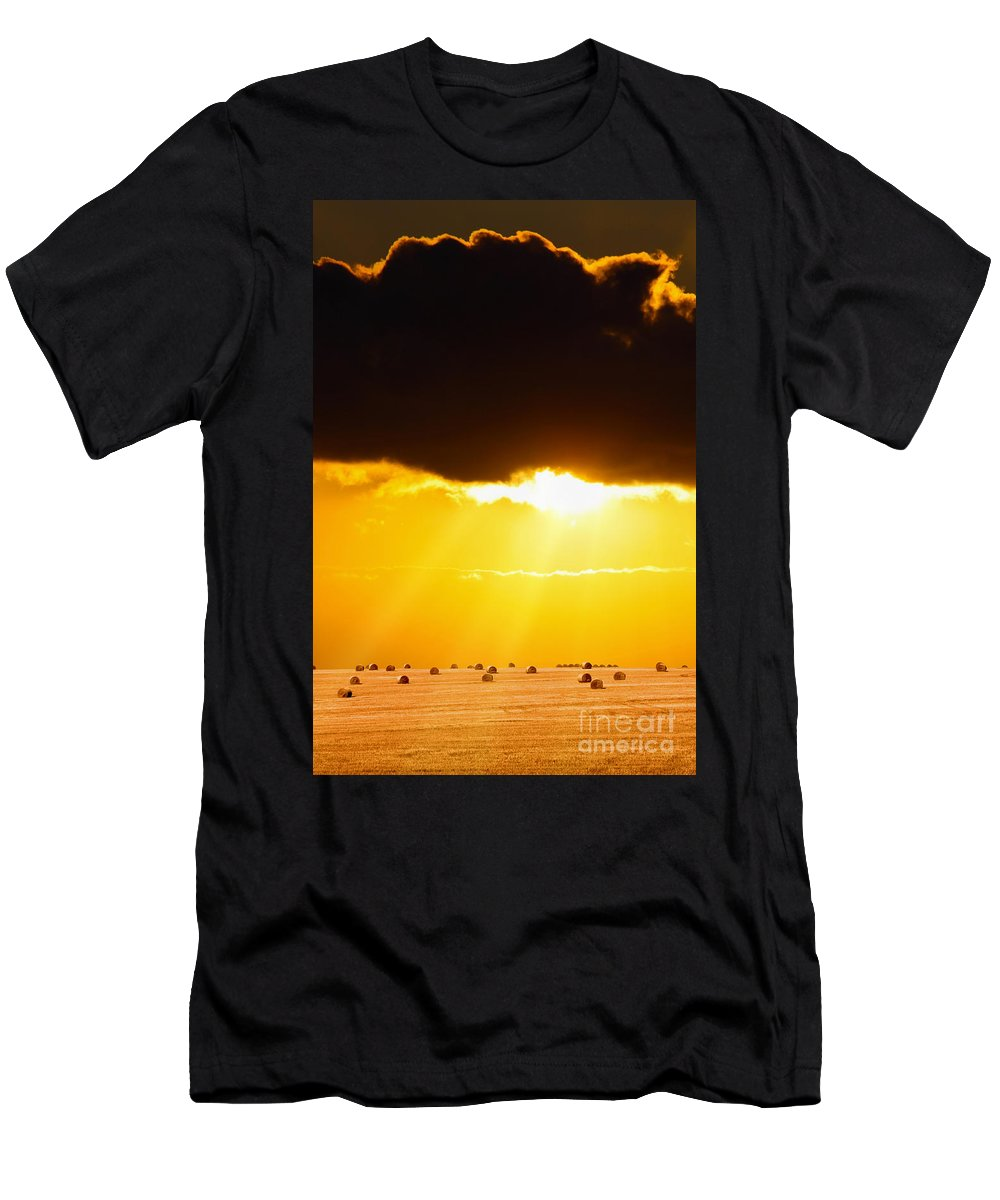 Boat Men's T-Shirt (Athletic Fit) featuring the photograph Golden Sunset On Farmland by Simon Bratt Photography LRPS