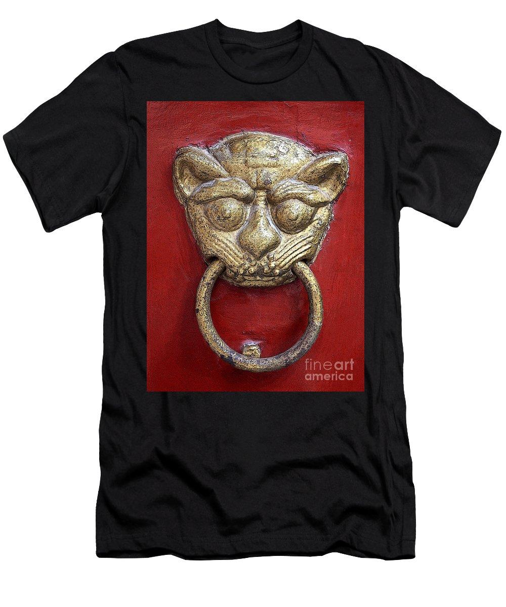 Door Knocker Men's T-Shirt (Athletic Fit) featuring the photograph Golden Temple Door Knocker by Carol Groenen